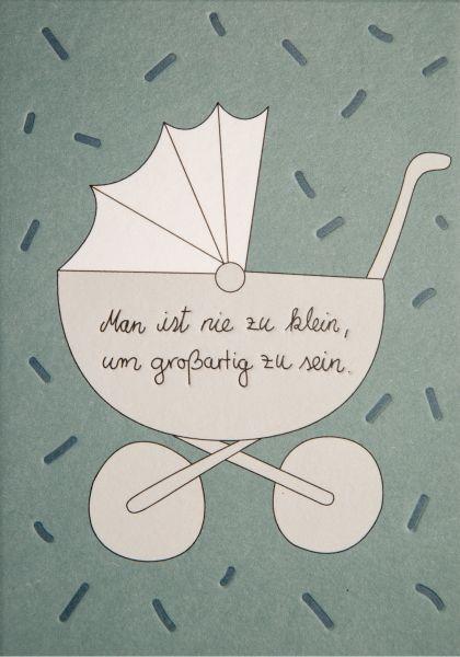 Postkarte Babygrußkarte Kinderwagen