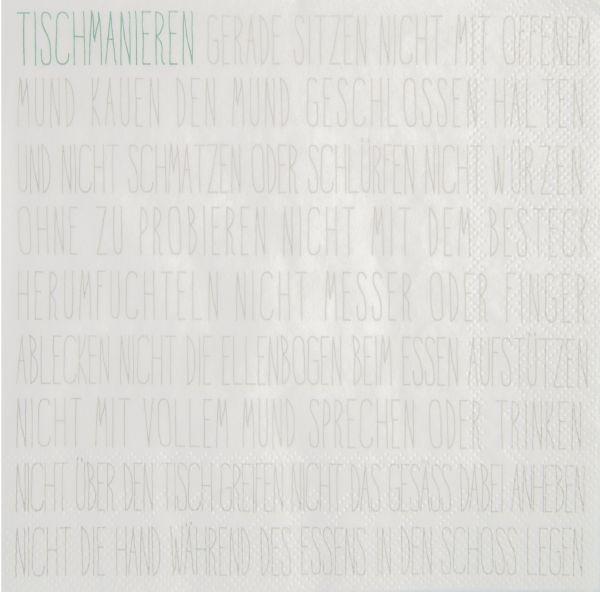 """Serviette """"Tischmanieren"""" 33/33 cm"""