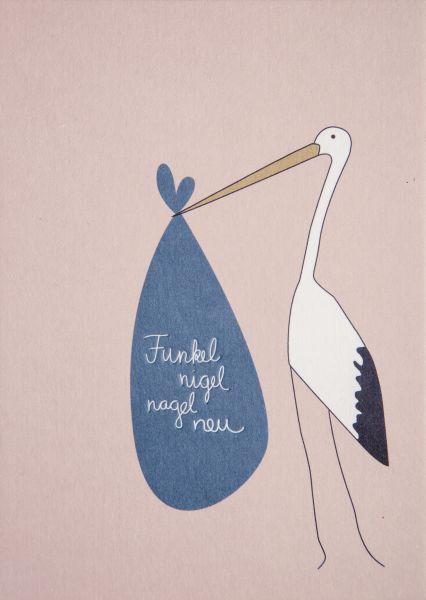 Postkarte Babygrußkarte Storch