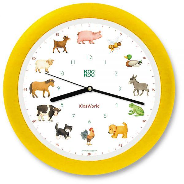 KidsWorld Tierstimmenuhr in gelb