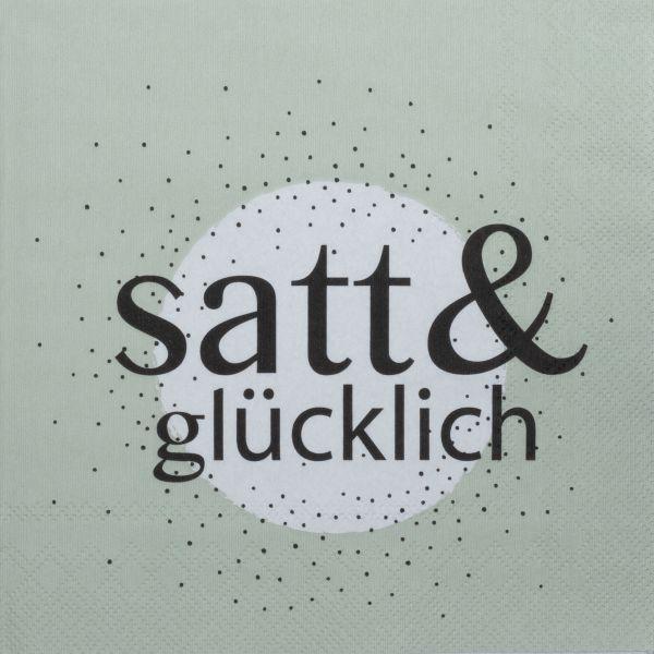 """Serviette """"satt & glücklich"""" 33/33 cm"""