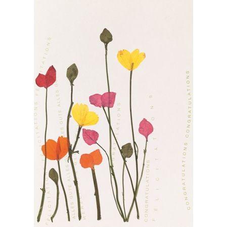 """Herzblüten Karte """"bunte Blüten"""